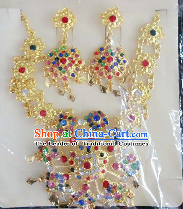 Traditional Thailand Ancient Handmade Accessories Necklace and Earrings, Traditional Thai China Dai Nationality Colorful Crystal Eardrop for Women