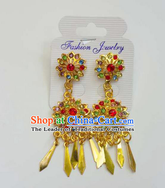 Traditional Thailand Ancient Handmade Accessories Earrings, Traditional Thai China Dai Nationality Tassel Colorful Crystal Eardrop for Women