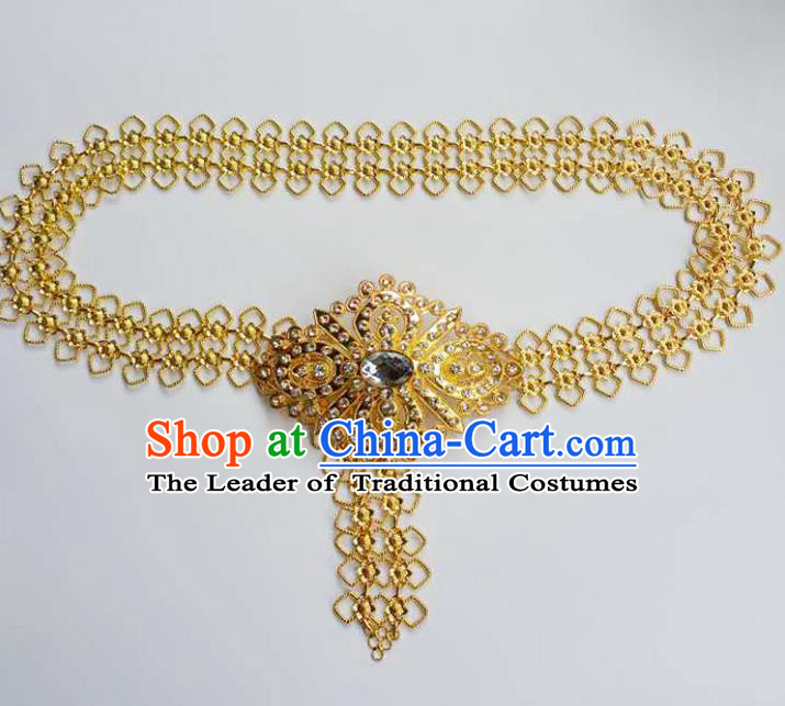 Traditional Thailand Ancient Handmade Waist Chain Accessories, Traditional Thai China Dai Nationality White Crystal Belts Pendant for Women
