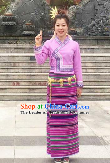 Traditional Thailand Ancient Handmade Young Lady Costumes and Headpiece, Traditional Thai China Dai Nationality Pink Dress Clothing for Women