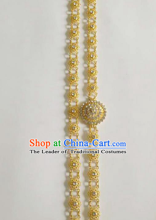 Traditional Thailand Ancient Handmade Crystal Waist Accessories, Traditional Thai China Dai Nationality Belts Pendant for Women