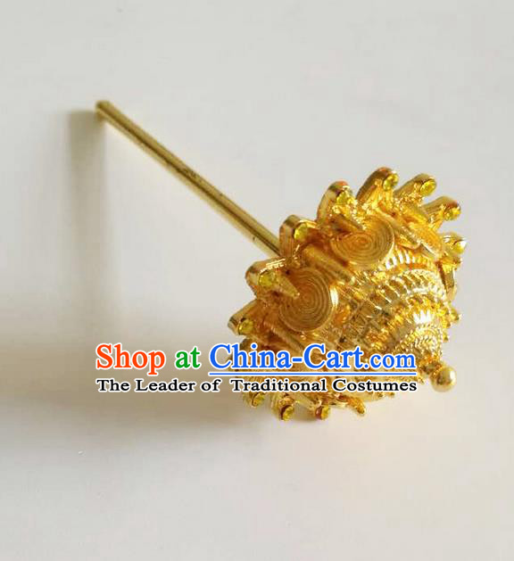 Traditional Thailand Ancient Handmade Hair Accessories, Traditional Thai China Dai Nationality Golden Hairpins Hair Stick for Women