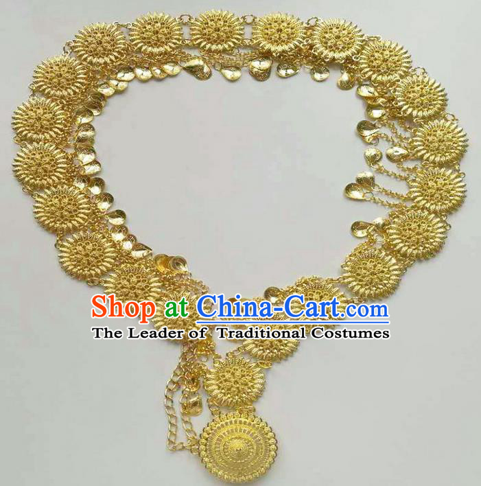 Traditional Thailand Ancient Handmade Golden Waist Accessories, Traditional Thai China Dai Nationality Belts Pendant for Women