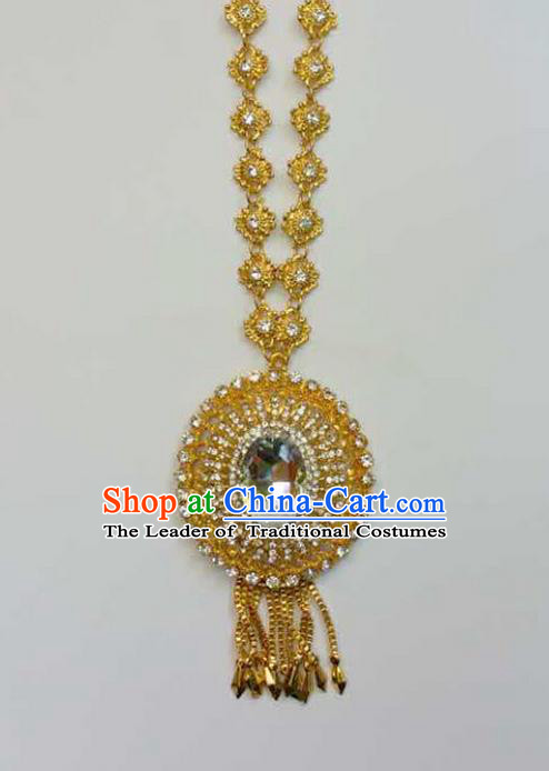 Traditional Thailand Ancient Handmade Golden Jewelry Accessories, Traditional Thai China Dai Nationality Crystal Necklace for Women