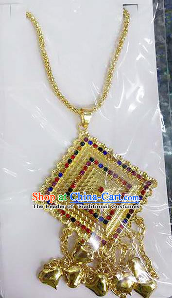 Traditional Thailand Ancient Handmade Wedding Jewelry Accessories, Traditional Thai China Dai Nationality Colorful Crystal Tassel Necklace for Women