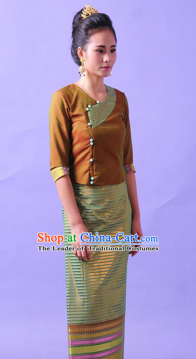 Traditional Thailand Ancient Handmade Female Costumes, Traditional Thai Lady China Dai Nationality Green Dress Clothing for Women