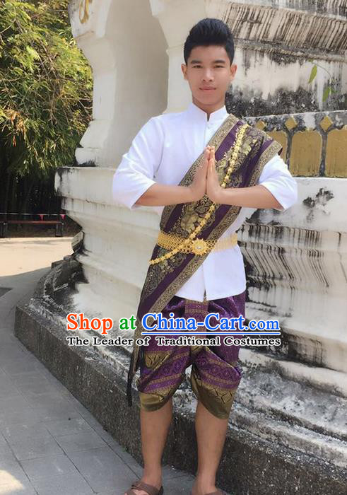 Traditional Thailand Ancient Handmade Male Costumes, Traditional Thai Uniform China Dai Nationality Purple Clothing for Men