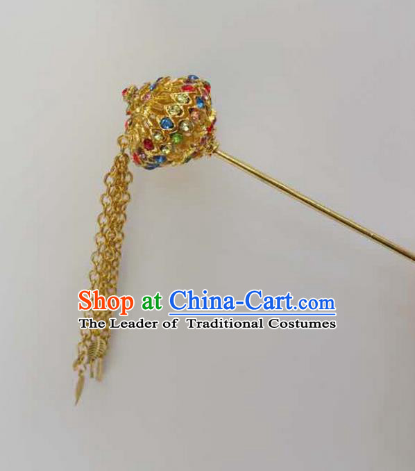 Traditional Thailand Ancient Handmade Hair Jewelry Accessories, Traditional Thai China Dai Nationality Golden Hairpins Colorful Crystal Hair Stick for Women