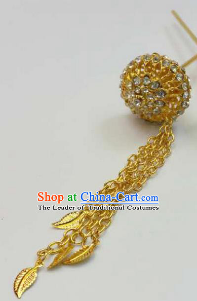 Traditional Thailand Ancient Handmade Hair Jewelry Accessories, Traditional Thai China Dai Nationality Golden Hairpins Crystal Hair Stick for Women