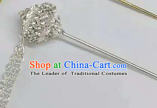 Traditional Thailand Ancient Handmade Hair Jewelry Accessories, Traditional Thai China Dai Nationality Hairpins Crystal Hair Stick for Women