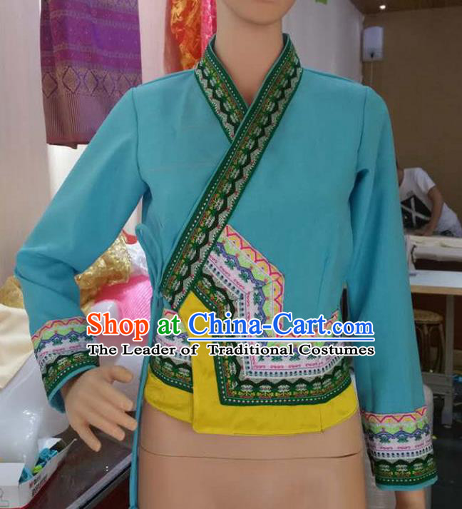 Traditional Thailand Ancient Handmade Female Costumes Upper Outer Garment, Traditional Thai Clothing China Dai Nationality Blue Blouse for Women