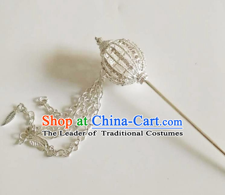 Traditional Thailand Ancient Handmade Hair Accessories, Traditional Thai China Dai Nationality Hairpins Crystal Hair Stick Headpiece for Women