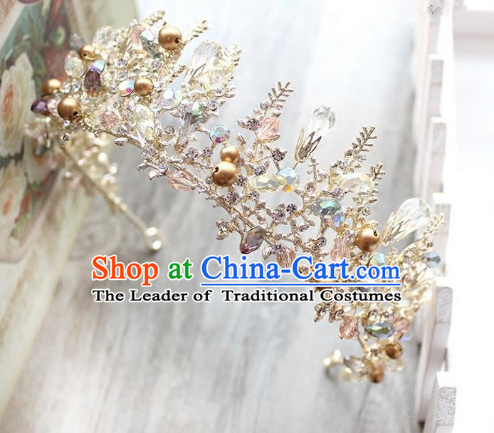 Top Grade Handmade Wedding Jewelry Hair Accessories, Traditional Crystal Royal Crown Wedding Headwear for Women