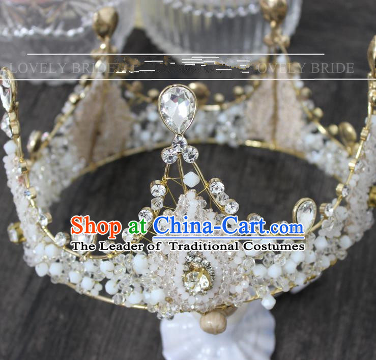 Top Grade Handmade Wedding Jewelry Queen Hair Accessories, Traditional Princess Crystal Royal Crown Wedding Headwear for Women