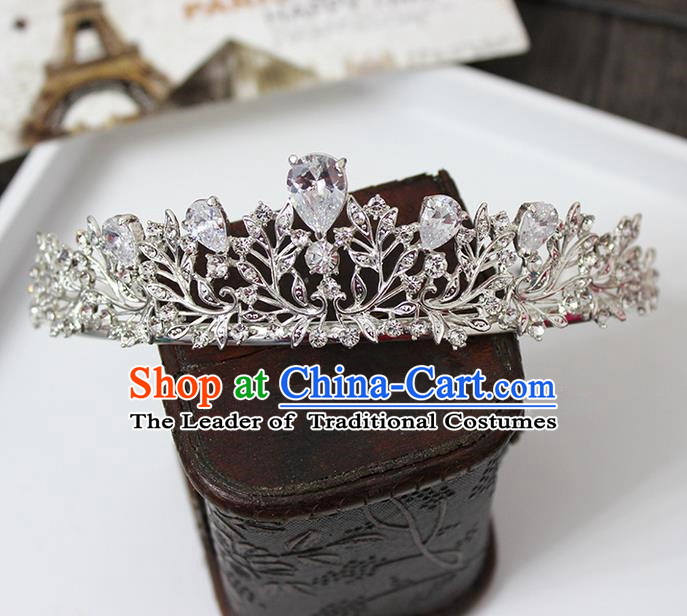 Top Grade Handmade Wedding Jewelry Queen Hair Accessories, Traditional Princess Zircon Royal Crown Wedding Headwear for Women