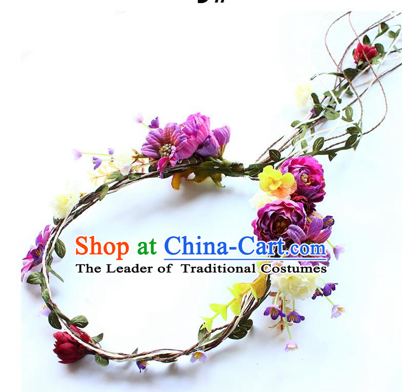 Top Grade Handmade Wedding Bride Hair Accessories Headband, Traditional Princess Purple Flowers Hair Clasp Wedding Headwear for Women