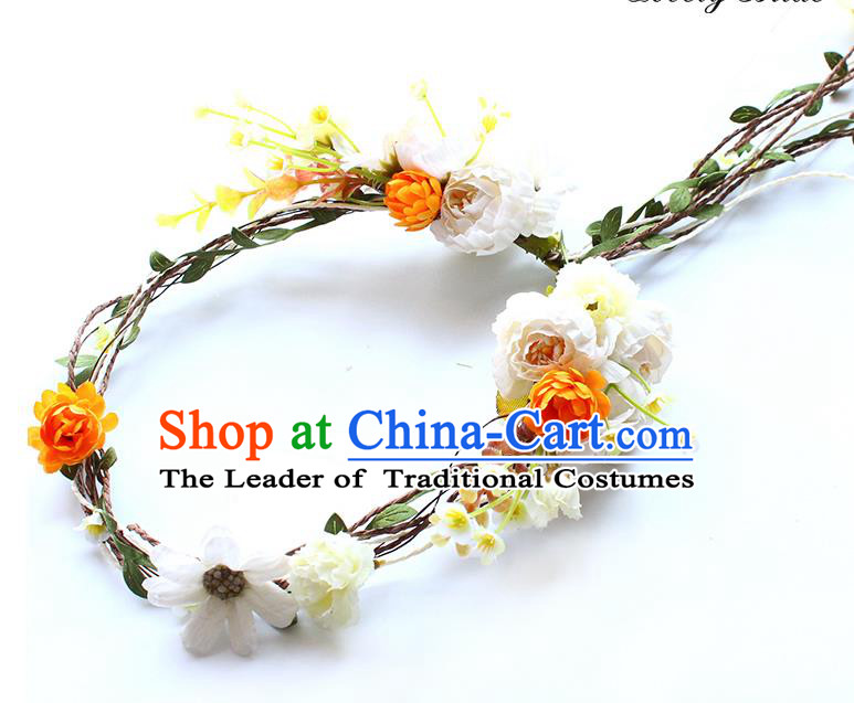Top Grade Handmade Wedding Bride Hair Accessories Headband, Traditional Princess Flowers Hair Clasp Wedding Headwear for Women