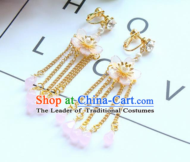 Top Grade Handmade Wedding Bride Earrings, Traditional Princess Baroque Flowers Tassel Wedding Accessories Eardrop for Women