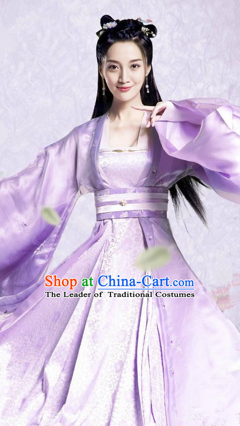 Traditional Ancient Chinese Northern and Southern Dynasties Imperial Princess Costume, The Entangled Life of Qingluo Young Lady Dress Clothing and Headpiece Complete Set