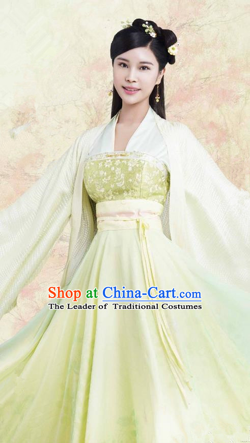 Traditional Ancient Chinese Northern and Southern Dynasties Princess Costume, The Entangled Life of Qingluo Young Lady Dress Clothing and Headpiece Complete Set