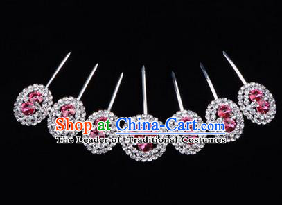 Chinese Ancient Peking Opera Head Accessories Young Lady Diva Crystal Pink Hairpins Complete Set, Traditional Chinese Beijing Opera Hua Tan Hair Clasp Head-ornaments