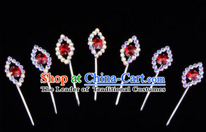 Chinese Ancient Peking Opera Head Accessories Young Lady Diva Colorful Crystal Red Hairpins Complete Set, Traditional Chinese Beijing Opera Hua Tan Hair Clasp Head-ornaments