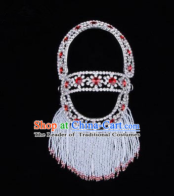 Chinese Ancient Peking Opera Head Accessories Young Lady Diva Red Hairpins Back Temples Curtain, Traditional Chinese Beijing Opera Hua Tan Hair Clasp Head-ornaments