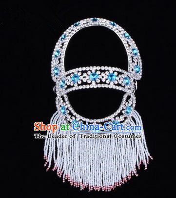 Chinese Ancient Peking Opera Head Accessories Young Lady Diva Blue Hairpins Back Temples Curtain, Traditional Chinese Beijing Opera Hua Tan Hair Clasp Head-ornaments
