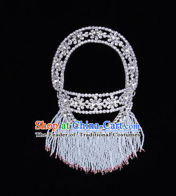 Chinese Ancient Peking Opera Head Accessories Young Lady Diva White Hairpins Back Temples Curtain, Traditional Chinese Beijing Opera Hua Tan Hair Clasp Head-ornaments