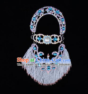 Chinese Ancient Peking Opera Head Accessories Young Lady Diva Blue Pearl Hairpins Back Temples Curtain, Traditional Chinese Beijing Opera Hua Tan Hair Clasp Head-ornaments