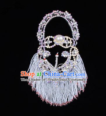 Chinese Ancient Peking Opera Head Accessories Young Lady Diva White Pearl Hairpins Back Temples Curtain, Traditional Chinese Beijing Opera Hua Tan Hair Clasp Head-ornaments
