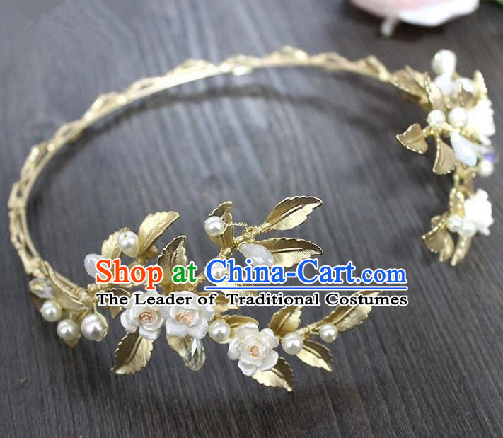 Top Grade Handmade Wedding Bride Hair Accessories Headpiece, Traditional Princess Wedding Ceramic Vase Headwear Hair Clasp for Women
