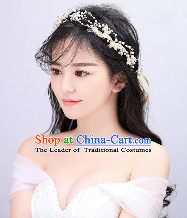 Top Grade Handmade Wedding Bride Hair Accessories Headpiece Hair Band, Traditional Princess Wedding Headwear Hair Clasp for Women