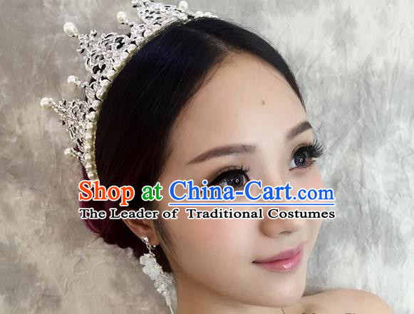 Top Grade Handmade Wedding Bride Hair Accessories Crown, Traditional Baroque Queen Pearl Crystal Royal Crown Wedding Headpiece for Women
