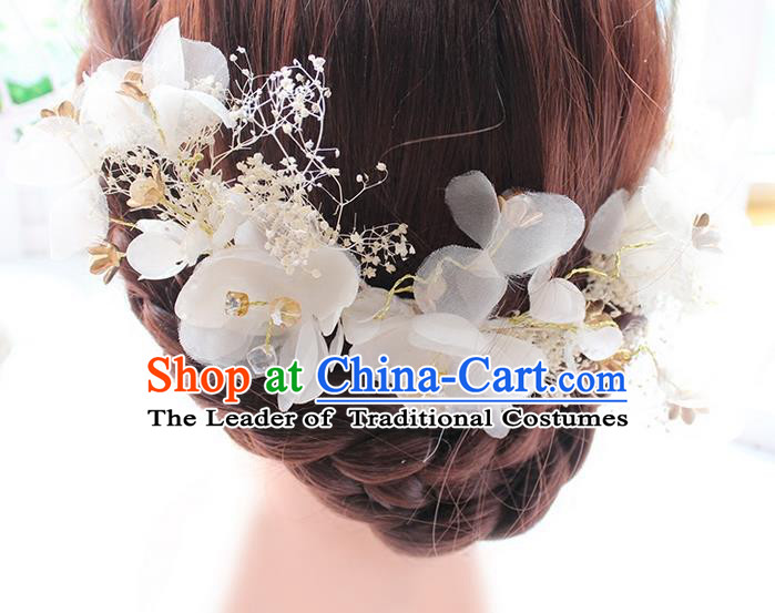 Top Grade Handmade Wedding Bride Hair Accessories Hair Stick, Traditional Princess Wedding Headwear Silk Flowers Hair Clasp for Women