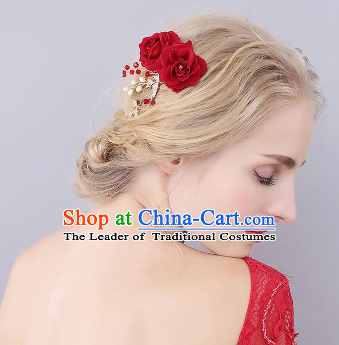 Top Grade Handmade Wedding Bride Hair Accessories Double Red Rose Hair Stick, Traditional Princess Wedding Headwear Hairpins for Women
