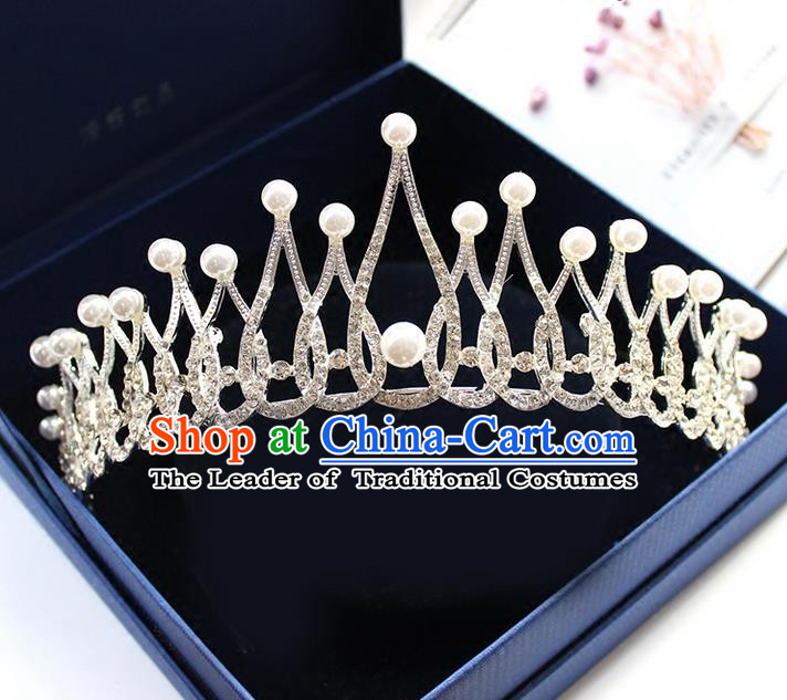 Top Grade Handmade Wedding Bride Hair Accessories Pearl Crown, Traditional Baroque Princess Crystal Royal Crown Wedding Headpiece for Women