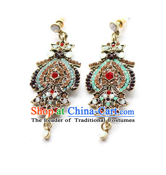 Top Grade Handmade Wedding Bride Vintage Earrings, Traditional Princess Baroque Wedding Accessories Eardrop for Women