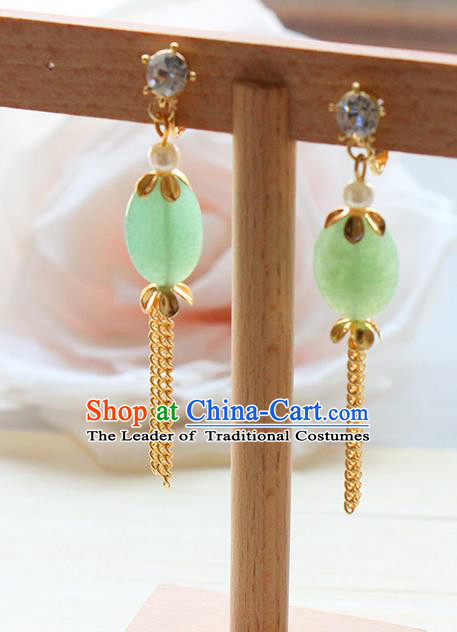 Top Grade Handmade Wedding Bride Accessories Earrings, Traditional Princess Wedding Long Tassel Jade Eardrop for Women