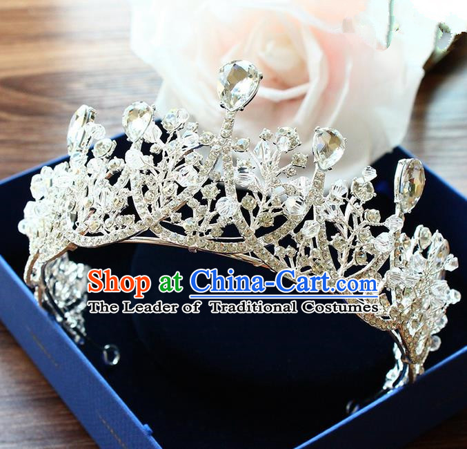 Top Grade Handmade Wedding Bride Hair Accessories Luxury Crown, Traditional Baroque Princess Crystal Royal Crown Wedding Headpiece for Women