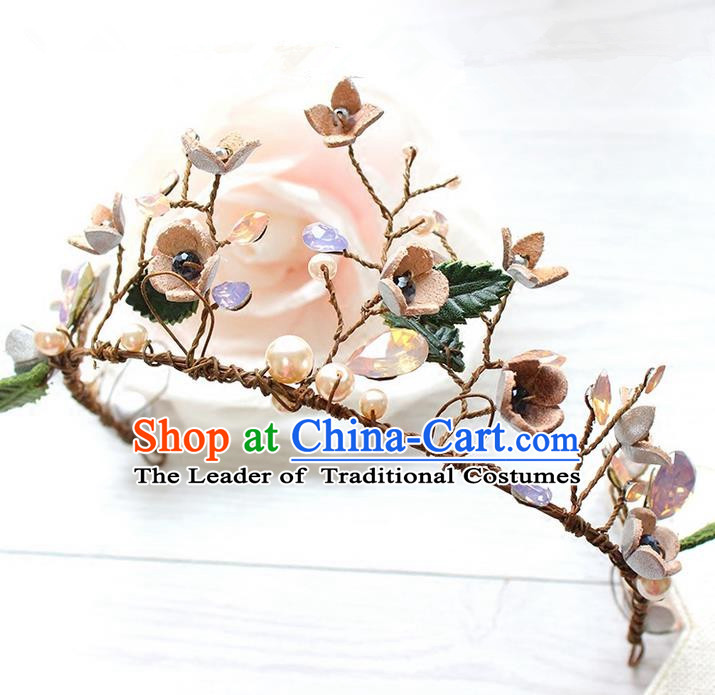 Top Grade Handmade Wedding Bride Hair Accessories Opal Flowers Headwear, Traditional Princess Baroque Hair Clasp for Women