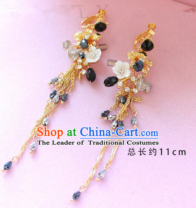 Top Grade Handmade Wedding Bride Accessories Flower Earrings, Traditional Princess Wedding Long Tassel Eardrop for Women