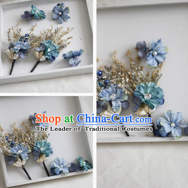 Top Grade Handmade Wedding Bride Hair Accessories Blue Flowers Headwear Complete Set, Traditional Princess Baroque Headpiece for Women