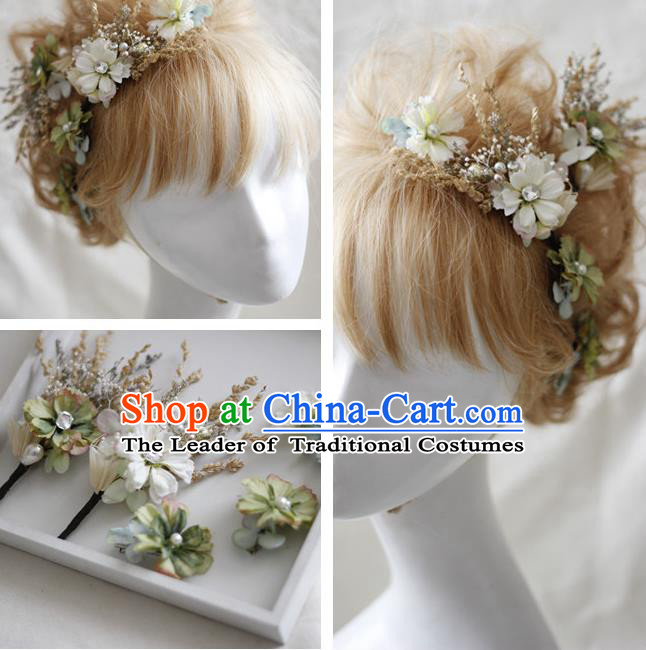 Top Grade Handmade Wedding Bride Hair Accessories White Flowers Headwear Complete Set, Traditional Princess Baroque Headpiece for Women