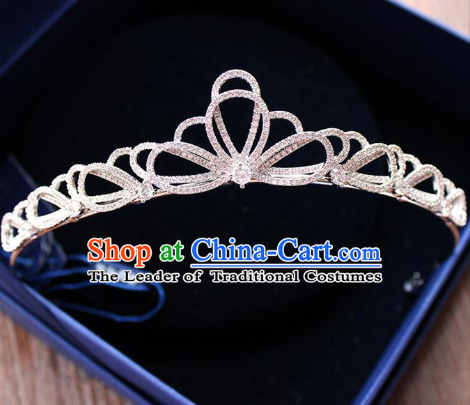 Top Grade Handmade Wedding Bride Hair Accessories Luxury Zircon Crown, Traditional Baroque Princess Crystal Royal Crown Wedding Headpiece for Women