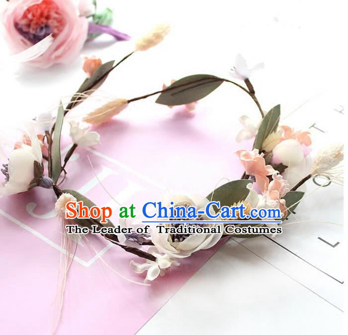 Top Grade Handmade Wedding Bride Hair Accessories Flower Headwear Garland, Traditional Princess Baroque Hair Clasp for Women