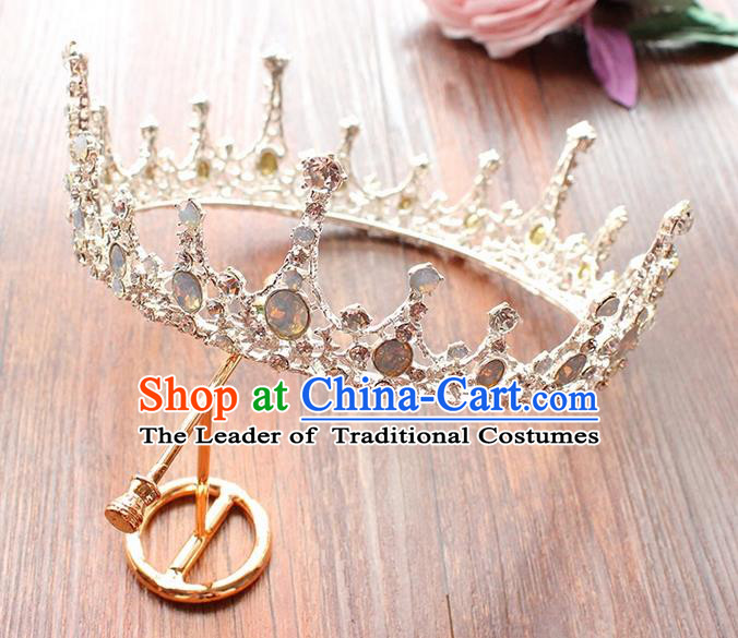 Top Grade Handmade Wedding Bride Hair Accessories Round Opal Crown, Traditional Baroque Princess Crystal Royal Crown Wedding Headpiece for Women
