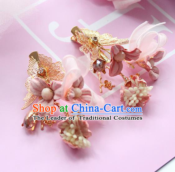 Top Grade Handmade Wedding Bride Hair Accessories Pink Flower Headwear, Traditional Princess Baroque Hair Clips for Women