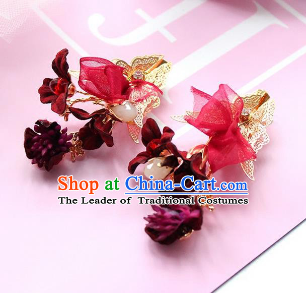 Top Grade Handmade Wedding Bride Hair Accessories Red Flower Headwear, Traditional Princess Baroque Hair Clips for Women