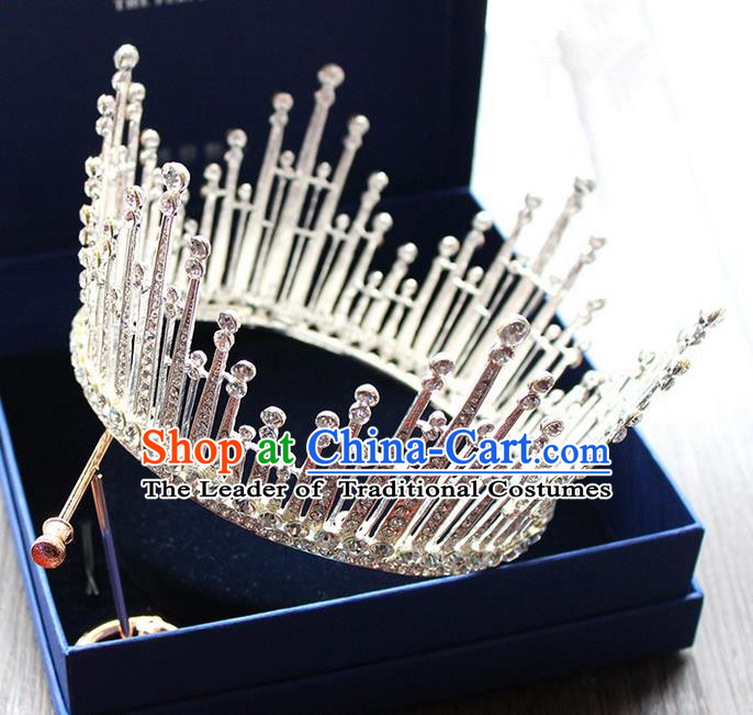 Top Grade Handmade Wedding Bride Hair Accessories Luxury Queen Crown, Traditional Baroque Princess Crystal Royal Crown Wedding Headpiece for Women